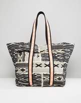 Asos BEACH Geo-Tribal Shopper Bag With Fluro Trim