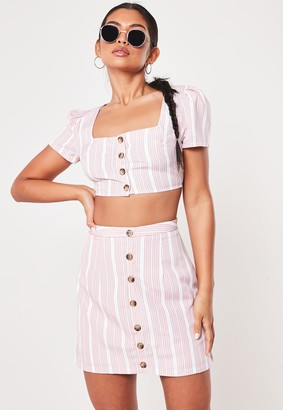 Missguided Pink Co Ord Lace Stripe Button Front Crop Top