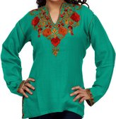 Kurti Mania V-Neck Ladies Silk Tunic with Rose Embroidery (, S)