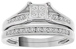 Modern Bride Womens 1/2 CT. T.W. Genuine White Diamond Sterling Silver Bridal Set Family