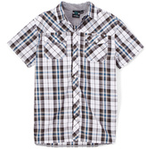 Burnside White First Down Short-Sleeve Plaid Woven Button-Up - Boys