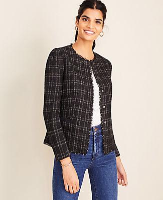 Ann Taylor Petite Shimmer Plaid Fringe Tweed Jacket