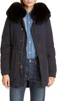 Mr & Mrs Italy Hooded Cotton Parka with Removable Genuine Fox Fur Trim
