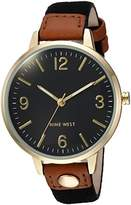 Nine West Women's NW/2114BKBK Gold-Tone and Black Canvas Strap Watch