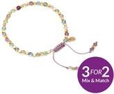 Lola Rose Portobello Gold Tone Semi Precious Rainbow Fluorite Friendship Bracelet