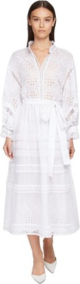 Ermanno Scervino Cotton Eyelet Lace & Organza Shirt Dress