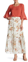 Bobeau Floral Woven Maxi Skirt