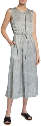 Eileen Fisher Wavy Print Sleeveless Drawstring-Waist Dress