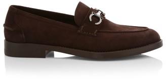 Salvatore Ferragamo Arlin Horsebit Logo Suede Loafers