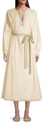 Tory Burch Contrast-Trim Belted Tunic Dress