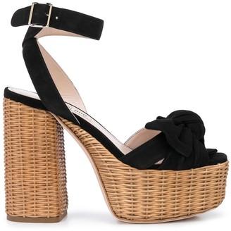 Miu Miu Peep Toe Platform Sandals