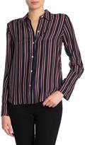 Frame Silk Stripe Button Down Blouse