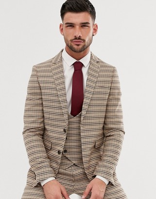 Gianni Feraud skinny fit dog tooth check suit jacket-Brown
