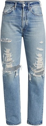 AGOLDE '90s Mid-Rise Loose-Fit Distressed Jeans