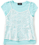 I.N. Girl Big Girls 7-16 2-Fer Peplum-Tank Tee