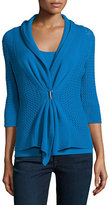 Neiman Marcus Cashmere Collection Open-Weave Buckle-Front Cashmere Cardigan