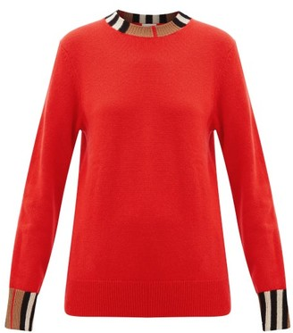 Burberry Eyre Icon-striped Cashmere Sweater - Womens - Red