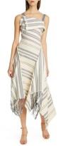 Monse Foldover Neck Fringe Cotton Blend Midi Dress