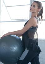 Nina B Roze - Mesh Bow Ruffle Top - Black