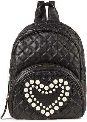 Boutique Moschino Faux Pearl-embellished Quilted Leather Backpack