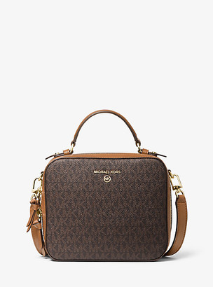 Michael Kors Jet Set Medium Logo and Leather Crossbody Bag