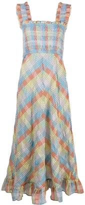 Ganni Grid Pattern Flared Dress