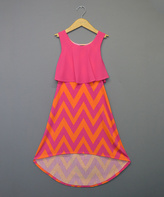 Sequin Hearts Orange & Fuchsia Chevron Hi-Low Dress - Girls