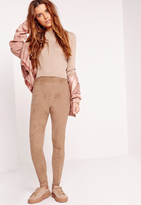 Missguided Contrast Faux Suede Leggings Nude