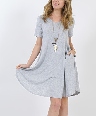 Lydiane Women's Casual Dresses H.GREY - Heather Gray V-Neck Short-Sleeve Curved-Hem Pocket Tunic Dress - Women
