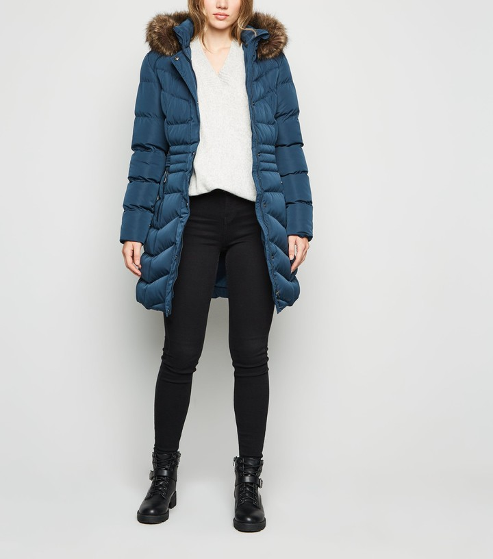 New Look Belted Long Puffer Jacket