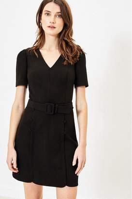 Oasis Womens Black Button Detail Shift Dress - Black