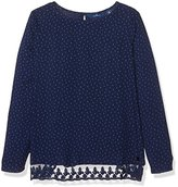 Tom Tailor Kids Girl's print blouse with lace edge Blouse, Blue (baller blue)