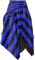 Proenza Schouler Asymmetric Sequined Silk Wrap Midi Skirt - Indigo