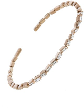 Suzanne Kalan Small Flexible Zig Zag White Diamond Firework Bangle Bracelet - Rose Gold