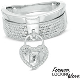 Zales Forever Locking LoveTM 1/10 CT. T.W. Diamond Stacked Heart Lock Ring in Sterling Silver - Size 7