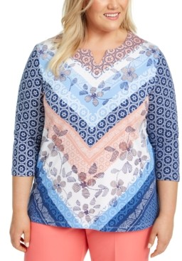 Alfred Dunner Plus Size Pearls of Wisdom Mixed-Print Split-Neck Top