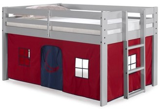 Alaterre Jasper Twin Junior Loft Bed, Dove Gray Frame and Red/Blue Bottom Playhouse Tent