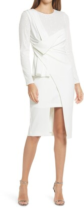 ONE33 SOCIAL Drape Front Sequin Long Sleeve Cocktail Dress