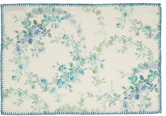 D'Ascoli Set Of Four Garden Linen-blend Placemats - Blue Multi