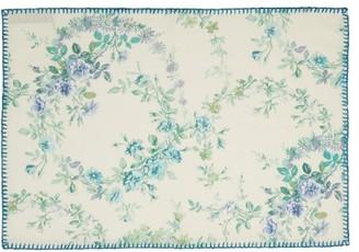D'Ascoli Set Of Four Garden Linen-blend Placemats - Blue Multi
