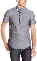 Ben Sherman Men's Short Sleeve Marl Seaside Print Button Down Shirt