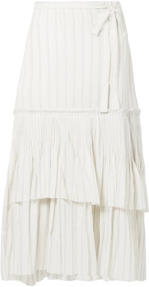Brock Collection Ortensia Ruffled Striped Cotton-voile Wrap Maxi Skirt