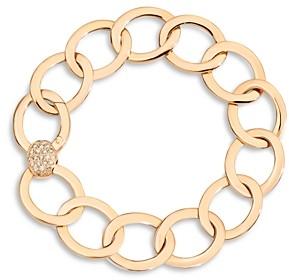 Pomellato 18K Rose Gold Brera Chain Link Bracelet with Brown Diamond Clasp
