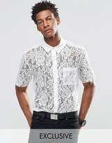 Reclaimed Vintage Lace Shirt With Raw Cut Sleeves