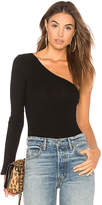 Only Hearts Wide Wale Rib One Shoulder Bodysuit in Black. - size L (also in M,S)