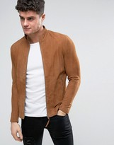Religion Slim Fit Suede Biker Jacket