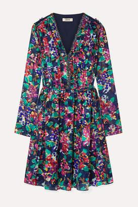 Jason Wu Ruffle-trimmed Floral-print Devore-organza Mini Dress - Purple
