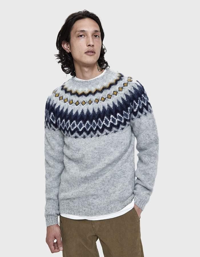 Norse Projects Birnir Fairisle Crewneck Sweater in Light Grey Melange