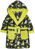 MiniKidz Childrens Dinosaur Print Soft Fleece Hooded Dressing Gown ~ 2-6 Years