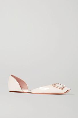 Roger Vivier Trompette D'orsay Leather Ballet Flats - White